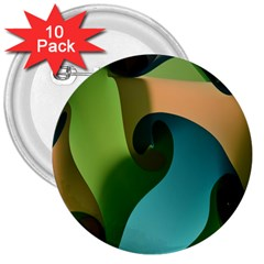 Ribbons Of Blue Aqua Green And Orange Woven Into A Curved Shape Form This Background 3  Buttons (10 pack)