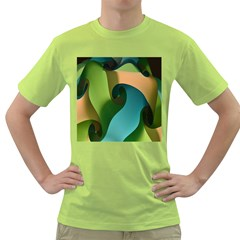 Ribbons Of Blue Aqua Green And Orange Woven Into A Curved Shape Form This Background Green T-Shirt