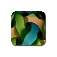 Ribbons Of Blue Aqua Green And Orange Woven Into A Curved Shape Form This Background Rubber Coaster (Square)
