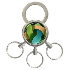 Ribbons Of Blue Aqua Green And Orange Woven Into A Curved Shape Form This Background 3 Ring Key Chains