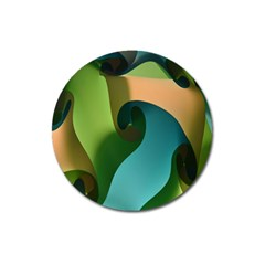 Ribbons Of Blue Aqua Green And Orange Woven Into A Curved Shape Form This Background Magnet 3  (round)