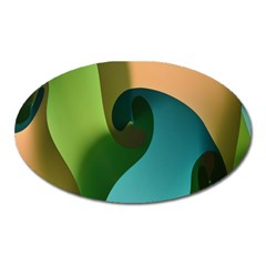 Ribbons Of Blue Aqua Green And Orange Woven Into A Curved Shape Form This Background Oval Magnet