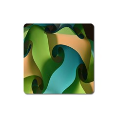 Ribbons Of Blue Aqua Green And Orange Woven Into A Curved Shape Form This Background Square Magnet