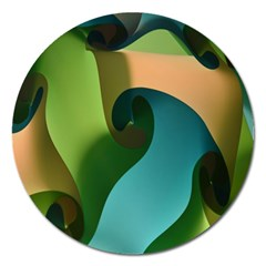 Ribbons Of Blue Aqua Green And Orange Woven Into A Curved Shape Form This Background Magnet 5  (Round)