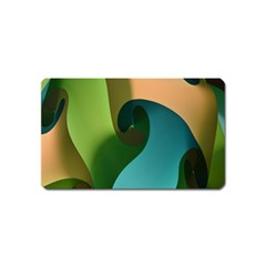 Ribbons Of Blue Aqua Green And Orange Woven Into A Curved Shape Form This Background Magnet (name Card)