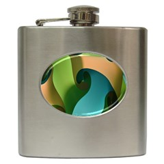 Ribbons Of Blue Aqua Green And Orange Woven Into A Curved Shape Form This Background Hip Flask (6 Oz)