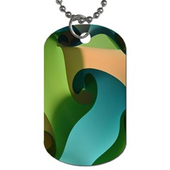 Ribbons Of Blue Aqua Green And Orange Woven Into A Curved Shape Form This Background Dog Tag (Two Sides)