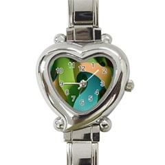 Ribbons Of Blue Aqua Green And Orange Woven Into A Curved Shape Form This Background Heart Italian Charm Watch