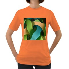 Ribbons Of Blue Aqua Green And Orange Woven Into A Curved Shape Form This Background Women s Dark T-Shirt