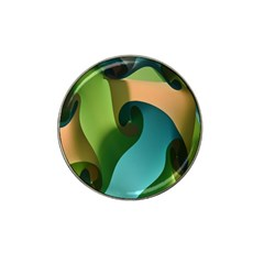 Ribbons Of Blue Aqua Green And Orange Woven Into A Curved Shape Form This Background Hat Clip Ball Marker