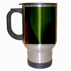 Ribbons Of Blue Aqua Green And Orange Woven Into A Curved Shape Form This Background Travel Mug (silver Gray)