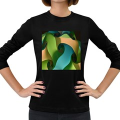 Ribbons Of Blue Aqua Green And Orange Woven Into A Curved Shape Form This Background Women s Long Sleeve Dark T Shirts