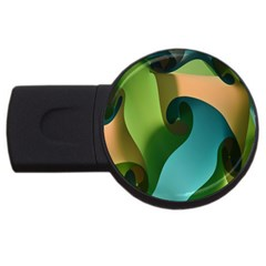 Ribbons Of Blue Aqua Green And Orange Woven Into A Curved Shape Form This Background Usb Flash Drive Round (4 Gb)