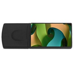 Ribbons Of Blue Aqua Green And Orange Woven Into A Curved Shape Form This Background USB Flash Drive Rectangular (4 GB)