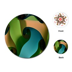 Ribbons Of Blue Aqua Green And Orange Woven Into A Curved Shape Form This Background Playing Cards (Round)