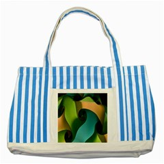 Ribbons Of Blue Aqua Green And Orange Woven Into A Curved Shape Form This Background Striped Blue Tote Bag
