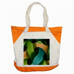Ribbons Of Blue Aqua Green And Orange Woven Into A Curved Shape Form This Background Accent Tote Bag