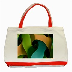 Ribbons Of Blue Aqua Green And Orange Woven Into A Curved Shape Form This Background Classic Tote Bag (Red)