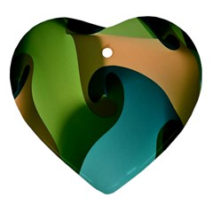 Ribbons Of Blue Aqua Green And Orange Woven Into A Curved Shape Form This Background Heart Ornament (two Sides)