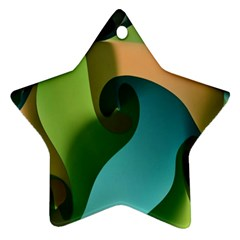 Ribbons Of Blue Aqua Green And Orange Woven Into A Curved Shape Form This Background Star Ornament (two Sides)