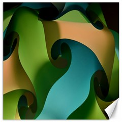 Ribbons Of Blue Aqua Green And Orange Woven Into A Curved Shape Form This Background Canvas 16  X 16