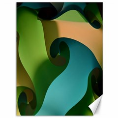 Ribbons Of Blue Aqua Green And Orange Woven Into A Curved Shape Form This Background Canvas 36  x 48