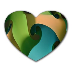 Ribbons Of Blue Aqua Green And Orange Woven Into A Curved Shape Form This Background Heart Mousepads