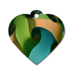 Ribbons Of Blue Aqua Green And Orange Woven Into A Curved Shape Form This Background Dog Tag Heart (Two Sides)