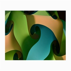 Ribbons Of Blue Aqua Green And Orange Woven Into A Curved Shape Form This Background Small Glasses Cloth (2 Side)