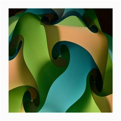 Ribbons Of Blue Aqua Green And Orange Woven Into A Curved Shape Form This Background Medium Glasses Cloth