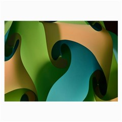 Ribbons Of Blue Aqua Green And Orange Woven Into A Curved Shape Form This Background Large Glasses Cloth