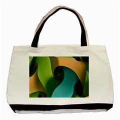 Ribbons Of Blue Aqua Green And Orange Woven Into A Curved Shape Form This Background Basic Tote Bag (two Sides)