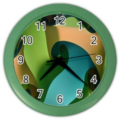 Ribbons Of Blue Aqua Green And Orange Woven Into A Curved Shape Form This Background Color Wall Clocks