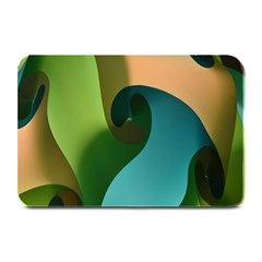 Ribbons Of Blue Aqua Green And Orange Woven Into A Curved Shape Form This Background Plate Mats