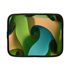Ribbons Of Blue Aqua Green And Orange Woven Into A Curved Shape Form This Background Netbook Case (Small)