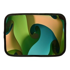 Ribbons Of Blue Aqua Green And Orange Woven Into A Curved Shape Form This Background Netbook Case (Medium)