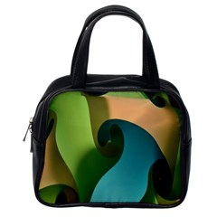 Ribbons Of Blue Aqua Green And Orange Woven Into A Curved Shape Form This Background Classic Handbags (One Side)
