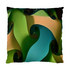 Ribbons Of Blue Aqua Green And Orange Woven Into A Curved Shape Form This Background Standard Cushion Case (one Side)