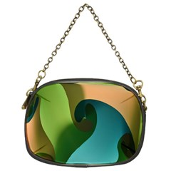 Ribbons Of Blue Aqua Green And Orange Woven Into A Curved Shape Form This Background Chain Purses (two Sides)
