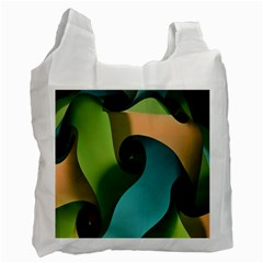 Ribbons Of Blue Aqua Green And Orange Woven Into A Curved Shape Form This Background Recycle Bag (One Side)