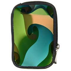 Ribbons Of Blue Aqua Green And Orange Woven Into A Curved Shape Form This Background Compact Camera Cases