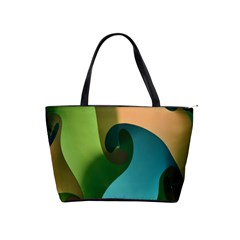 Ribbons Of Blue Aqua Green And Orange Woven Into A Curved Shape Form This Background Shoulder Handbags
