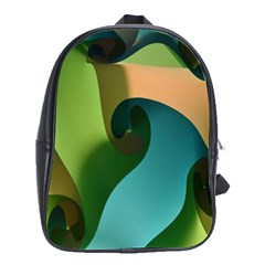 Ribbons Of Blue Aqua Green And Orange Woven Into A Curved Shape Form This Background School Bags(Large)