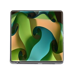 Ribbons Of Blue Aqua Green And Orange Woven Into A Curved Shape Form This Background Memory Card Reader (square)
