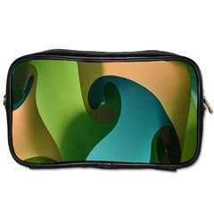 Ribbons Of Blue Aqua Green And Orange Woven Into A Curved Shape Form This Background Toiletries Bags