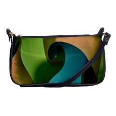 Ribbons Of Blue Aqua Green And Orange Woven Into A Curved Shape Form This Background Shoulder Clutch Bags