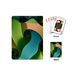 Ribbons Of Blue Aqua Green And Orange Woven Into A Curved Shape Form This Background Playing Cards (mini)