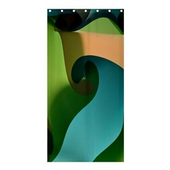 Ribbons Of Blue Aqua Green And Orange Woven Into A Curved Shape Form This Background Shower Curtain 36  x 72  (Stall)
