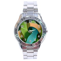 Ribbons Of Blue Aqua Green And Orange Woven Into A Curved Shape Form This Background Stainless Steel Analogue Watch