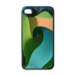 Ribbons Of Blue Aqua Green And Orange Woven Into A Curved Shape Form This Background Apple Iphone 4 Case (black)
